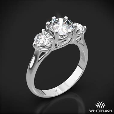 Platinum Butterflies 3 Stone Engagement Ring (Setting Only)