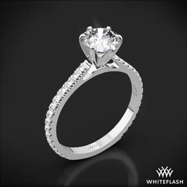 Platinum Cathedral French-Set Diamond Engagement Ring
