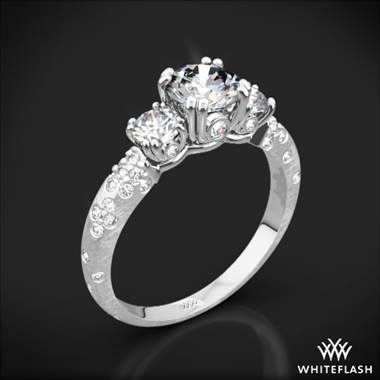 Platinum Champagne Petite 3 Stone Engagement Ring (0.50ctw ACA side stones included)