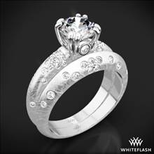 Platinum Champagne Petite Pave Diamond Wedding Set   Whiteflash