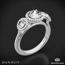 Platinum Danhov LE101 Per Lei Halo Three Stone Engagement Ring | Whiteflash