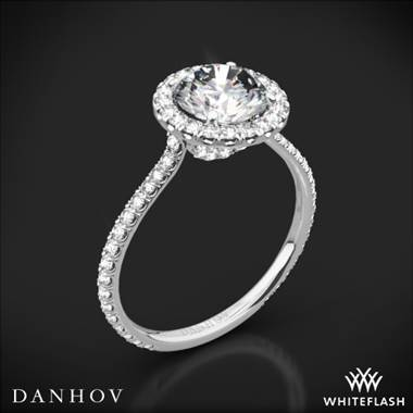Platinum Danhov LE112 Per Lei Halo Diamond Engagement Ring