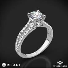 Platinum Ritani 1PCZ2488 Double French-Set 'V' Diamond Engagement Ring for Princess | Whiteflash