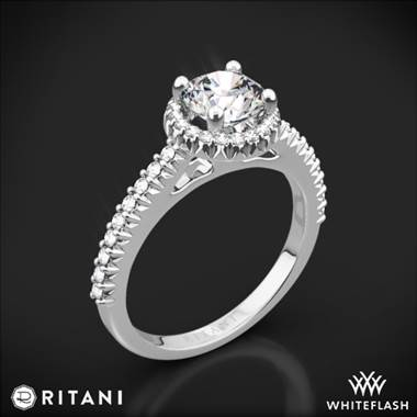Platinum Ritani 1RZ3705 French-Set Halo Diamond Engagement Ring