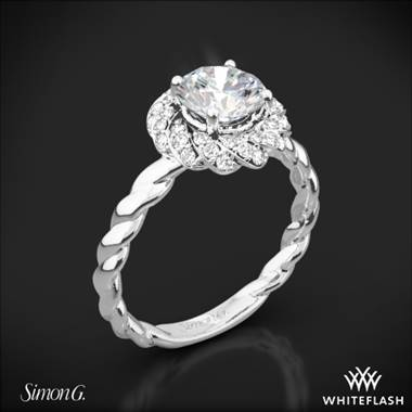 Platinum Simon G. LR1133 Classic Romance Halo Diamond Engagement Ring