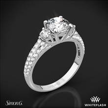 Platinum Simon G. MR2208 Caviar Three Stone Engagement Ring | Whiteflash