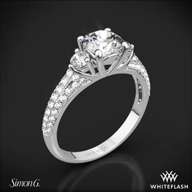 Platinum Simon G. MR2208 Caviar Three Stone Engagement Ring