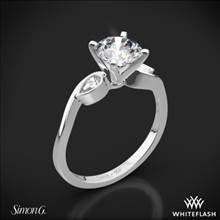Platinum Simon G. MR2342 Dutchess Three Stone Engagement Ring | Whiteflash