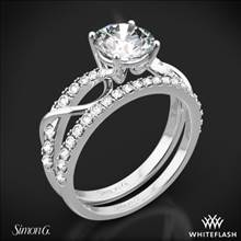 Platinum Simon G. MR2526 Fabled Crisscross Diamond Wedding Set | Whiteflash