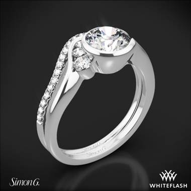 Platinum Simon G. MR2549 Fabled Bezel Solitaire Wedding Set