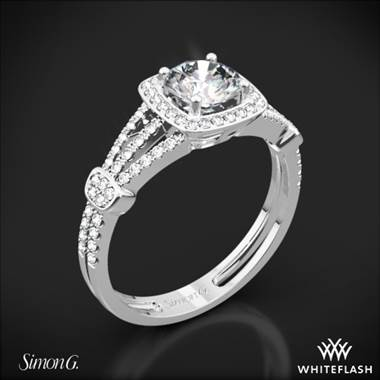 Platinum Simon G. TR418-D Delicate Halo Diamond Engagement Ring