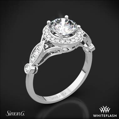Platinum Simon G. TR523 Passion Halo Diamond Engagement Ring