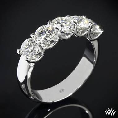"Platinum ""Skye"" Five Stone U-Prong Diamond Right Hand Ring- Setting Only"