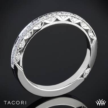 Platinum Tacori 2616B Classic Crescent Pave Half Eternity Diamond  Wedding Ring