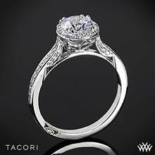 Platinum Tacori 2639RDP Dantela Spotlight Diamond Engagement Ring for 1ct center | Whiteflash