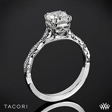 Platinum Tacori 57-2CU Sculpted Crescent Elevated Crown for Cushion Diamond Engagement Ring | Whiteflash
