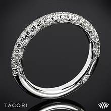 Platinum Tacori HT2545B Petite Crescent Half Eternity Scalloped Millgrain Diamond Wedding Ring | Whiteflash