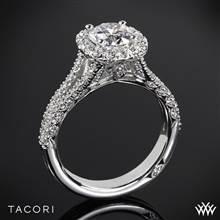 Platinum Tacori HT2548CU Petite Crescent Split Shank Halo Diamond Engagement Ring | Whiteflash