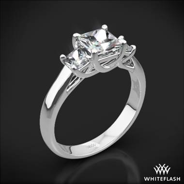 Platinum Trellis 3 Stone Engagement Ring for Princess (Setting Only)