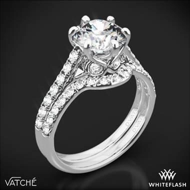 b026a6464b4c8 Platinum Vatche 1054 Swan French Pave Diamond Wedding Set