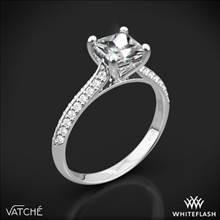 Platinum Vatche 190 Caroline Pave Diamond Engagement Ring for Princess | Whiteflash