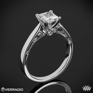 Platinum Verragio ENG-0409P 4 Prong Princess Solitaire Engagement Ring