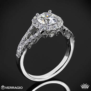 Platinum Verragio INS-7010R Split Shank Halo Diamond Engagement Ring