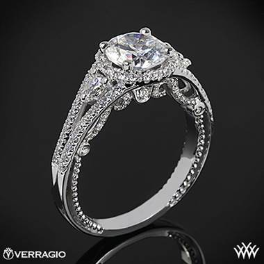 Platinum Verragio INS-7068R Domed Bead-Set Diamond Engagement Ring