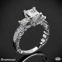 Platinum Verragio PAR-3064P Bead-Set Princess 3 Stone Engagement Ring | Whiteflash