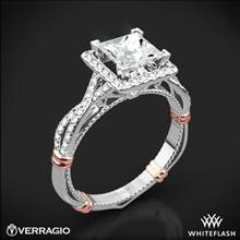 Platinum Verragio Parisian D-106P Halo Diamond Engagement Ring for Princess with Rose Gold Wraps | Whiteflash