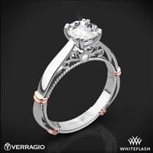 Platinum Verragio Parisian D-120 Solitaire Engagement Ring with Rose Gold Wraps | Whiteflash