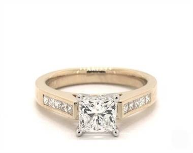 Princess Channel Set .25ctw Engagement Ring in 14K Yellow Gold 2.6mm Width Band (Setting Price)