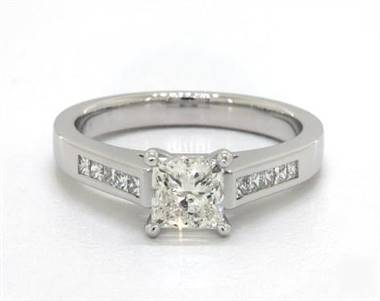 Princess Channel Set .25ctw Engagement Ring in 18K White Gold 2.6mm Width Band (Setting Price)