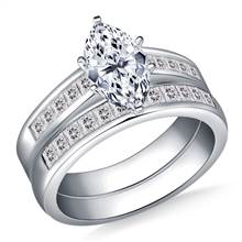 Princess Channel Set Diamond Ring with Matching Band in 18K White Gold (1 1/10 cttw.) | B2C Jewels
