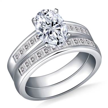 Princess Channel Set Diamond Ring with Matching Band in Platinum (1 1/10 cttw.)
