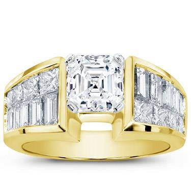 Princess-Cut and Baguette Engagement Setting (2.12 CTTW)