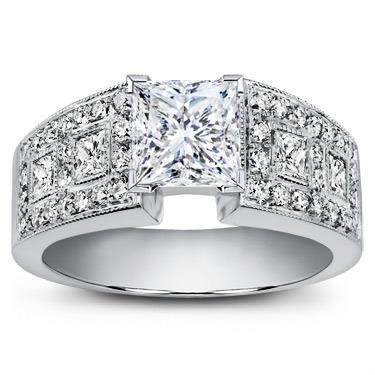 Princess Cut and Pave Engagement Setting