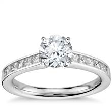 Princess Cut Channel Set Diamond Engagement Ring in 14k White Gold (1/2 ct. tw.) | Blue Nile