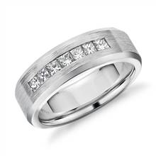 """Princess-Cut Channel-Set Diamond Wedding Band in 14k White Gold (3/4 ct. tw.)"" 