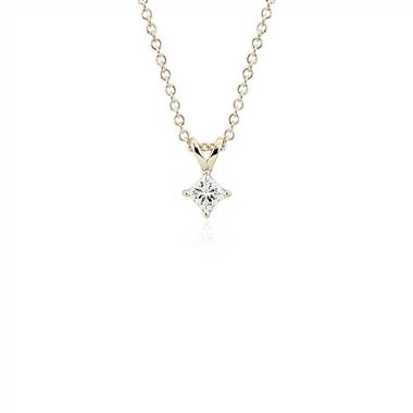 """Princess-Cut Diamond Solitaire Pendant in 14k Yellow Gold (1/3 ct. tw.)"""