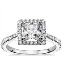 Princess-Cut Floating Halo Diamond Engagement Ring in 14k White Gold (1/3 ct. tw.) | Blue Nile
