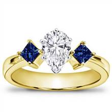 Princess Cut Sapphire Accented Engagement Setting | Adiamor