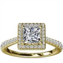Princess Diamond Bridge Halo Diamond Engagement Ring in 14k Yellow Gold (1/3 ct. tw.) | Blue Nile