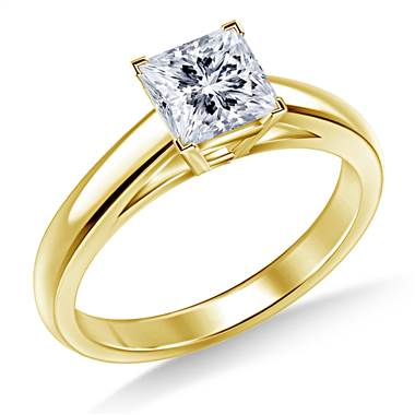 Princess Solitaire Engagement Ring Cathedral Design in 14K Yellow Gold