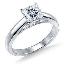 Princess Solitaire Engagement Ring Cathedral Design in 18K White Gold   B2C Jewels