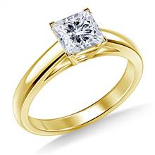 Princess Solitaire Engagement Ring Cathedral Design in 18K Yellow Gold | B2C Jewels