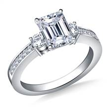 Prong And Pave Set Diamond Accent Engagement Ring Crafted In 14K White Gold (3/8 cttw.) | B2C Jewels