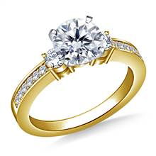 Prong And Pave Set Diamond Accent Engagement Ring Crafted In 14K Yellow Gold (3/8 cttw.) | B2C Jewels