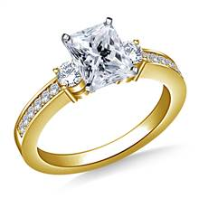 Prong And Pave Set Diamond Accent Engagement Ring Crafted In 18K Yellow Gold (3/8 cttw.) | B2C Jewels