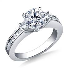 Prong, Channel and Bezel-Set Diamond Ring in 18K White Gold (3/8 cttw) | B2C Jewels